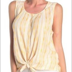 NWT! LUCKY BRAND YELLOW WHITE CROP TOP size M